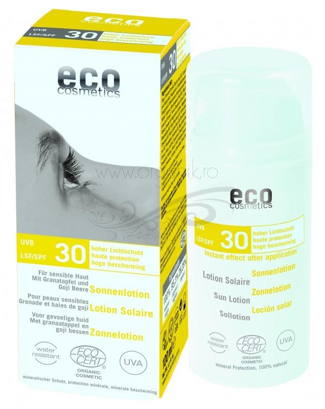Lotiune fluida de protectie solara FPS 30 cu goji si rodie, 100 ml - Eco Cosmetics