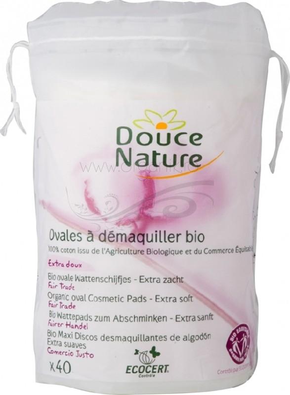 Dischete ovale demachiante din bumbac bio, 50 buc - Douce Nature