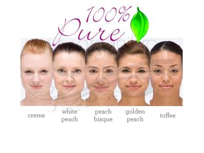 Fond de ten pudra cu FPS 15, White Peach, Healthy Flawless Skin- 100 Percent Pure Cosmetics