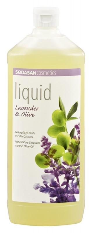 Sapun lichid-gel de dus Lavanda si ulei de masline, 1L - Sodasan