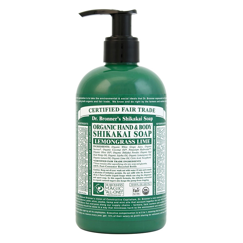 Sapun lichid cu pudra shikakai Lemongrass Lime, 355 ml - DR. BRONNER