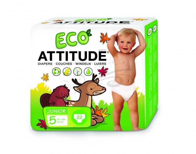 Scutece ecologice de unica folosinta marime 5 (12kg+), 22 buc - ATTITUDE