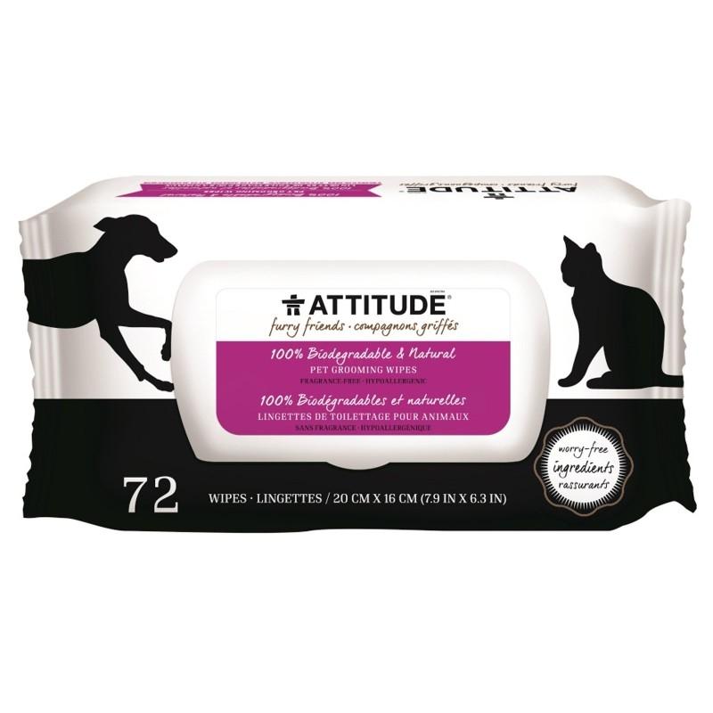 Servetele umede naturale hipoalergenice pentru animale de companie, 72 buc - ATTITUDE