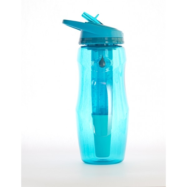 Sticla de apa cu filtru de carbon si gel de racire non toxic, 946 ml BLEU - Irisana