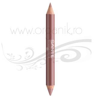 Ruj creion duo contur si stralucire, Nude Look 01 - SANTE NATURKOSMETIK