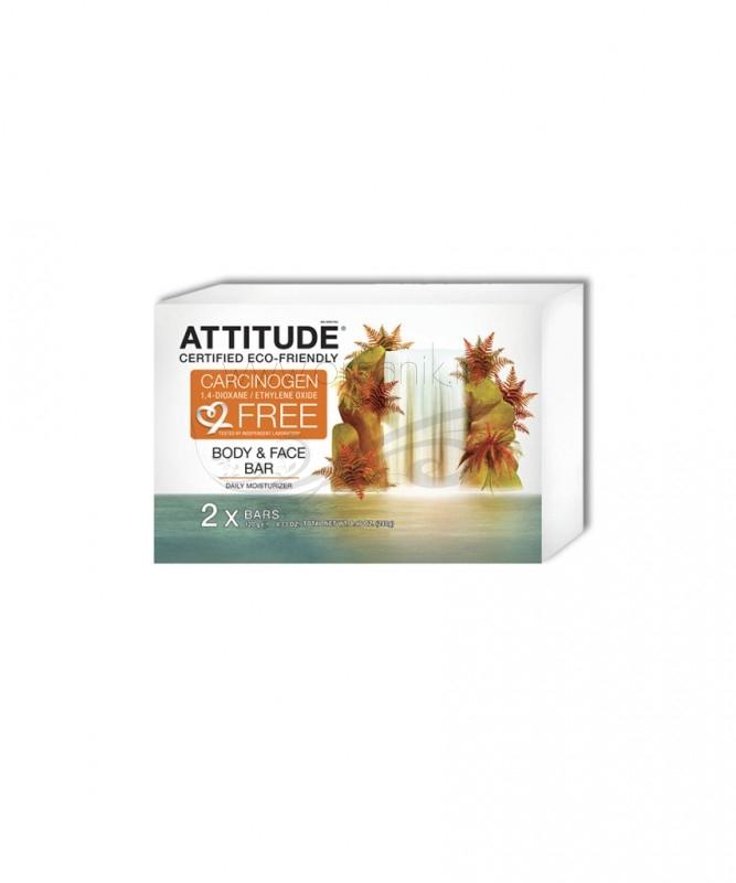 Sapun solid hidratant pentru fata si corp, 2 x 120 g - ATTITUDE