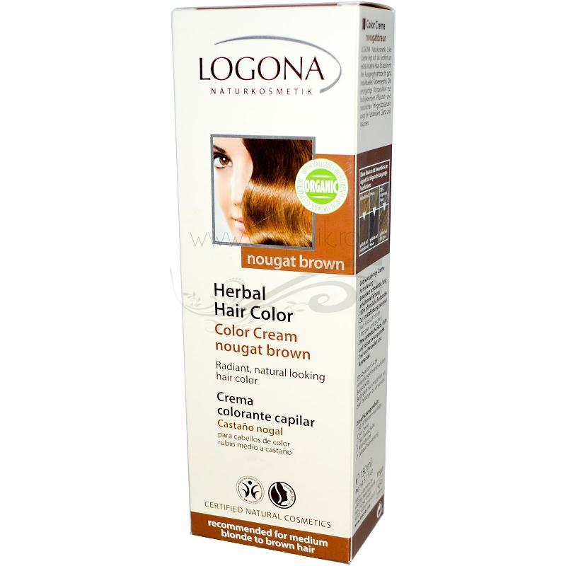 Vopsea de par naturala crema, Nougat Brown - LOGONA