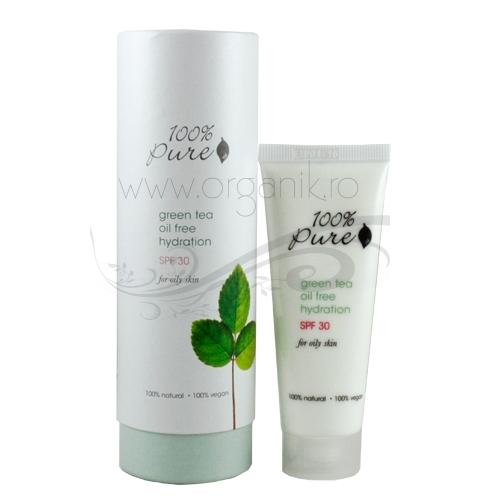 Crema cu ceai verde si protectie solara FPS 30, pentru ten gras - 100 Percent Pure Cosmetics