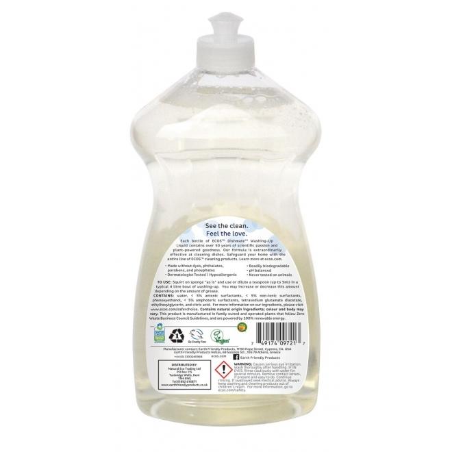 Solutie pentru spalat vase si biberoane fara parfum, 750 ml - ECOS