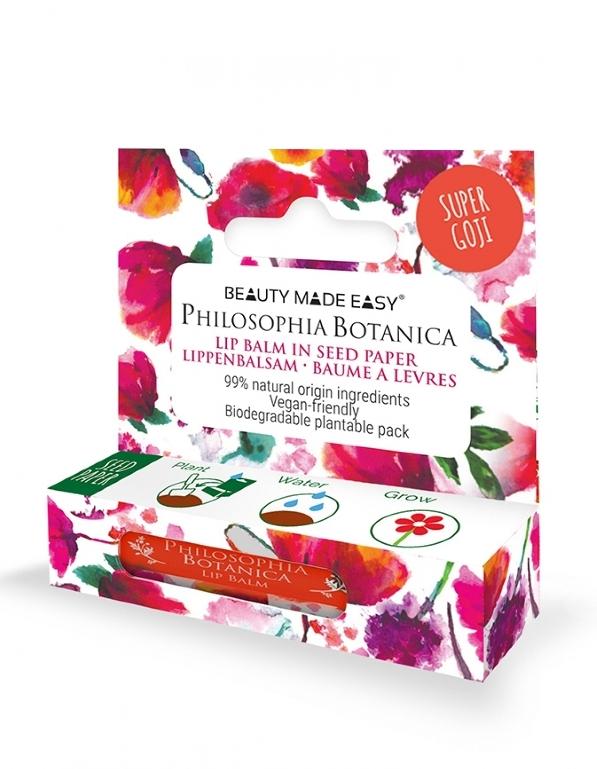 Balsam de buze colorat in ambalaj plantabil, Super Goji - Beauty Made Easy