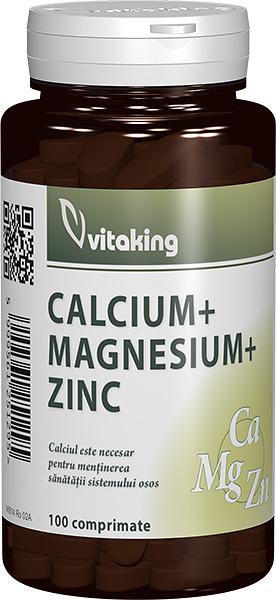 Calciu-Magneziu cu Zinc, 100 comprimate - Vitaking