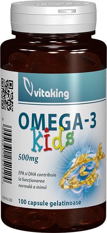 Omega-3 Kids 500 mg, 100 cps gelatinoase cu gust de capsuni - Vitaking