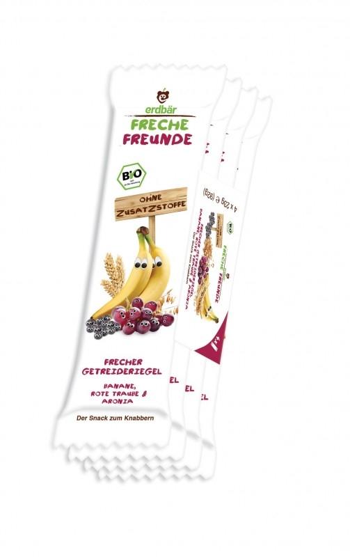 Batoane de cereale cu banane, struguri si aronia bio, 4 x 23g - Erdbar