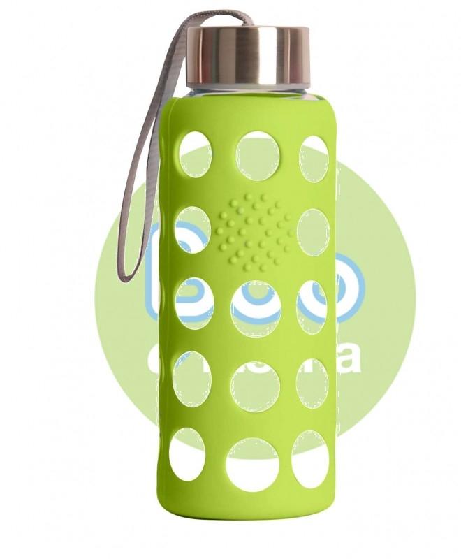 Sticla reutilizabila din borosilicat cu husa de silicon, 300 ml VERDE - Irisana