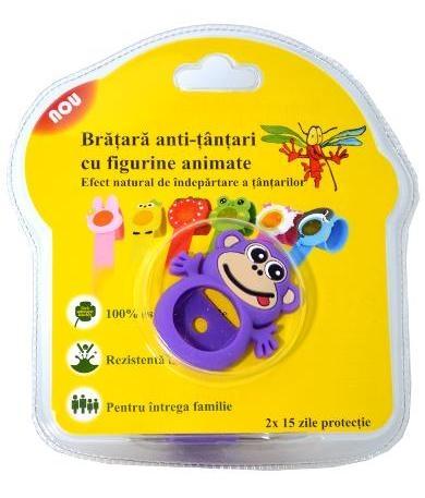 Bratara anti-tantari din silicon cu 2 rezerve, pentru copii - Maimutica