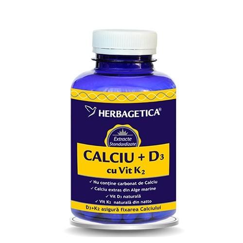 CALCIU + D3 cu vitamina K2, 120 capsule - HERBAGETICA