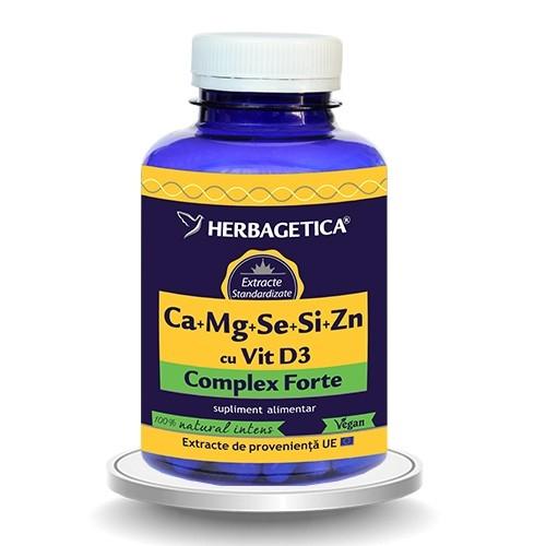 Ca+Mg+Se+Si+Zn cu Vit D3 Complex Forte, 120 capsule - HERBAGETICA