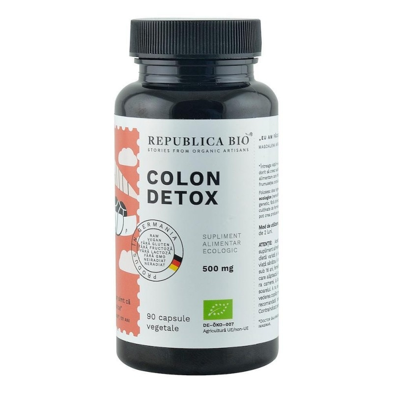 Colon Detox (500 mg) supliment alimentar ecologic, 90 capsule -  Republica BIO