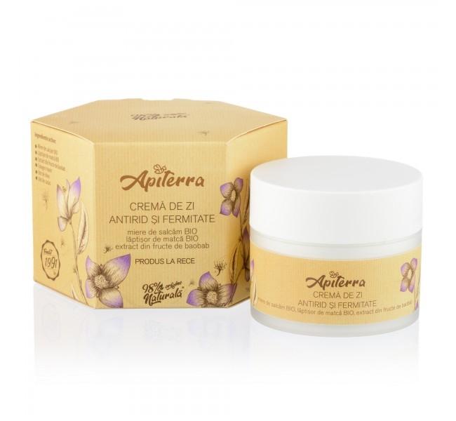 Crema de zi antirid si fermitate cu miere de salcam si laptisor de matca, 50ml - Apiterra