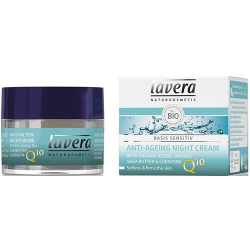 Crema de noapte antirid cu coenzima Q10, Basis Sensitiv - LAVERA