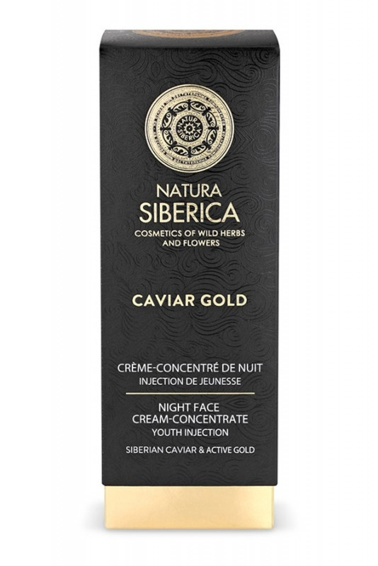 Crema de noapte concentrata antiage Youth Injection cu aur si caviar, Caviar Gold, 30 ml - Natura Siberica
