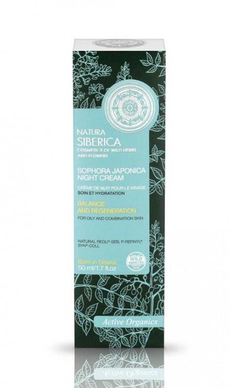 Crema de noapte echilibranta si regeneranta ten mixt sau gras, Sophora Japonica, 50 ml - Natura Siberica