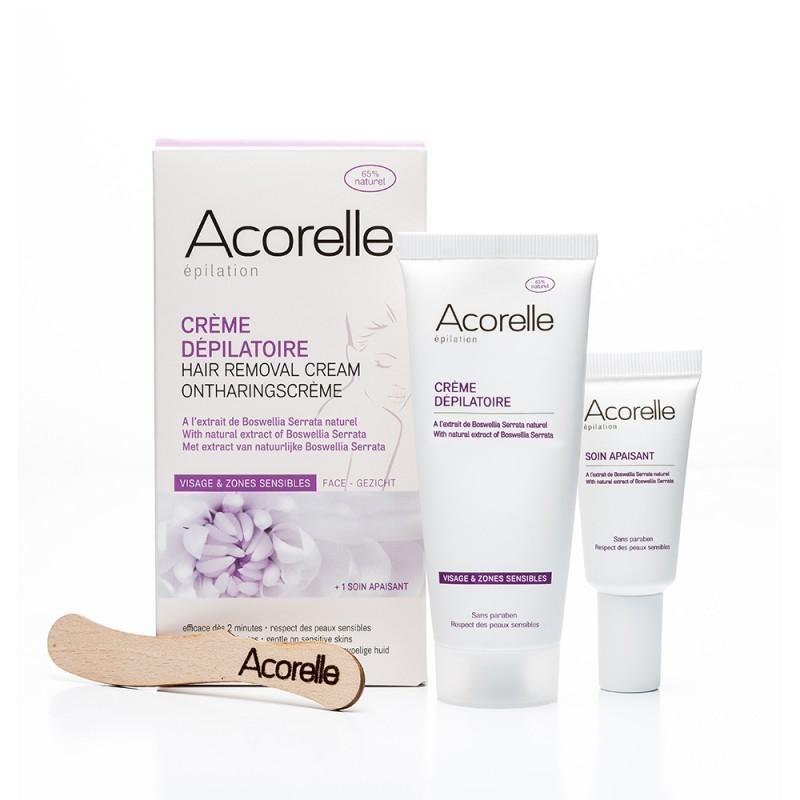 Crema depilatoare pentru fata si zone sensibile, cu extracte naturale, 75 ml - Acorelle