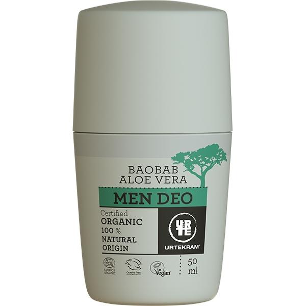 Deo roll-on bio cu aloe vera si baobab, pentru barbati - URTEKRAM