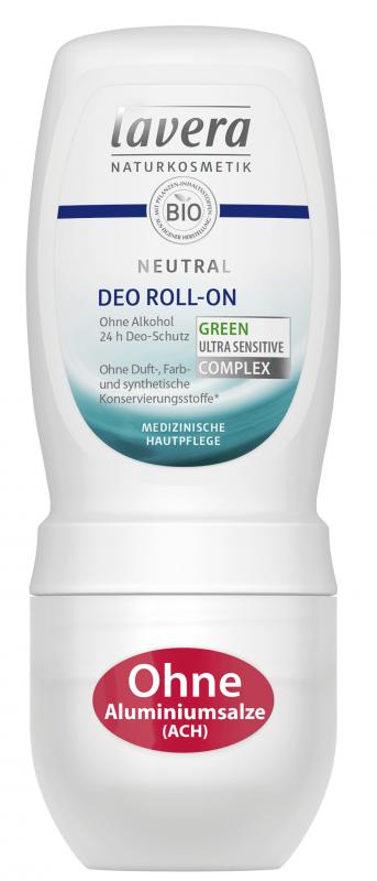 Deodorant roll-on fara alcool pentru piele foarte sensibila, iritata, Neutral - LAVERA