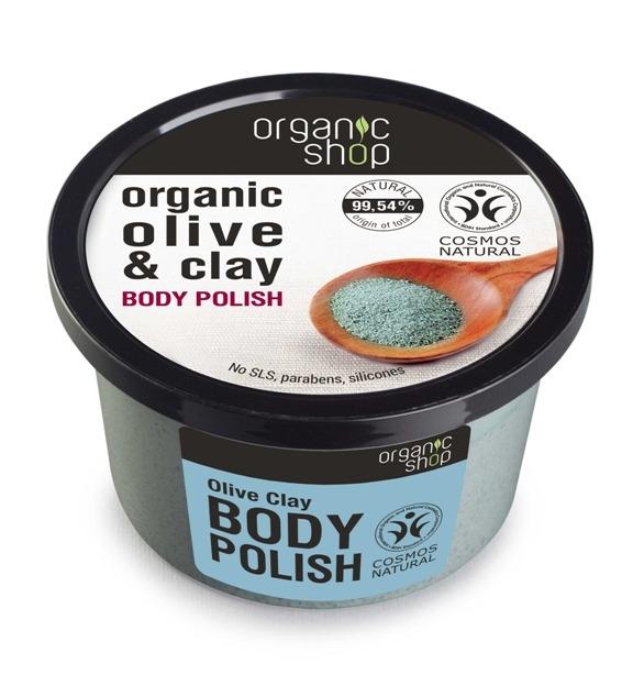 Exfoliant de corp  polish cu sare marina si argila Olive Clay, 250 ml - Organic Shop