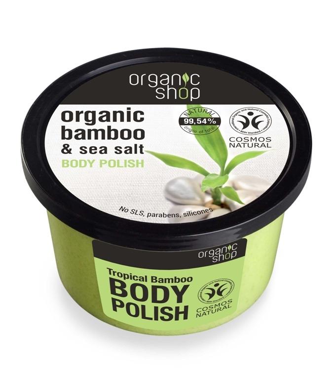 Exfoliant de corp  polish cu sare marina si bambus Tropical Bamboo, 250 ml - Organic Shop