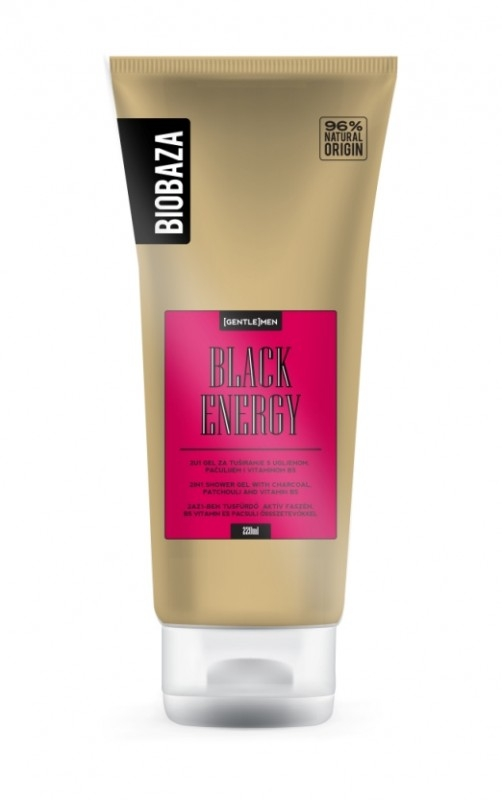 Gel de dus 2 in 1 pentru barbati BLACK ENERGY (carbune si patchouli), 220 ml - BIOBAZA