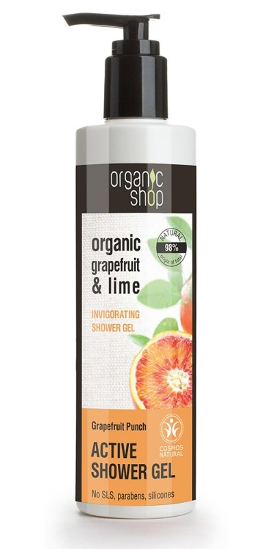 Gel de dus bio cu lime si grapefruit, Grapefruit Punch - Organic Shop