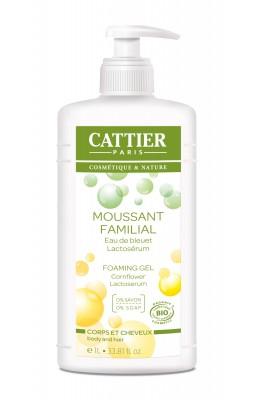 Gel spumant familial pentru corp si par fara sapun, 1L - Cattier