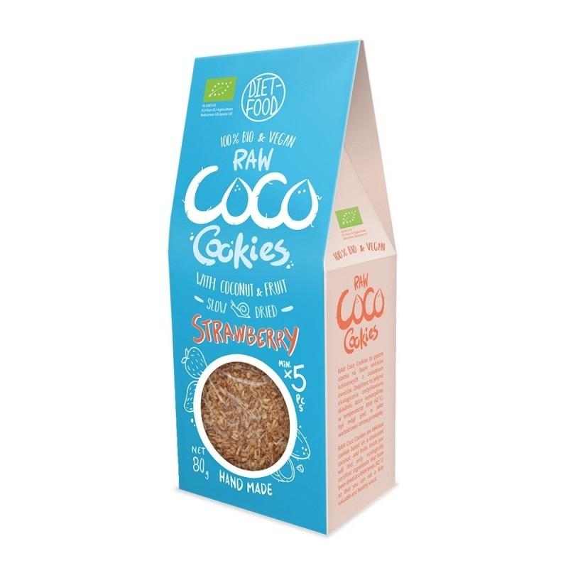 Fursecuri raw vegane cu cocos si capsuni, 80g - Diet-Food