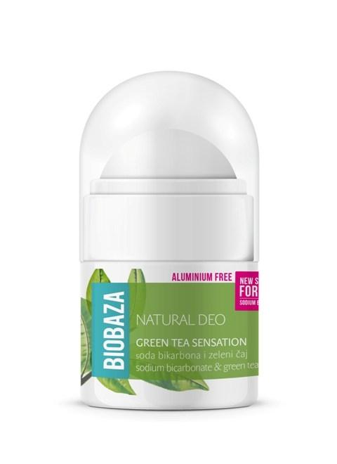 MINI Deodorant natural pentru femei GREEN TEA SENSATION, 20ml - BIOBAZA