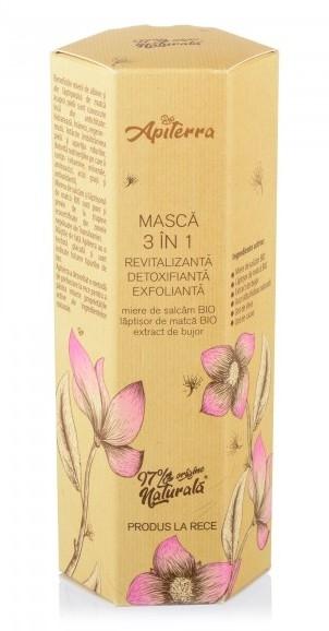 Masca 3 in 1 revitalizanta, detoxifianta si exfolianta cu miere si extract de bujor, 75ml - Apiterra