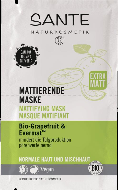 Masca matifianta cu grapefruit si complex Evermat, 8ml - Sante Naturkosmetik