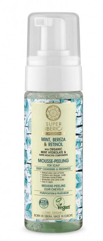 Mousse-peeling profesional pentru scalp gras cu menta, mesteacan si retinol, 170ml - Super Siberica
