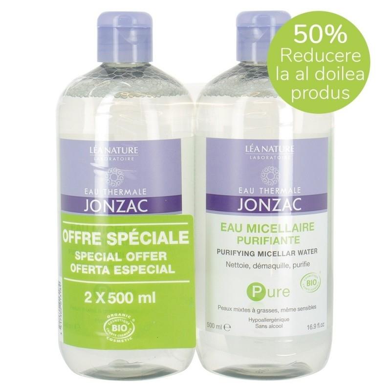 Pachet promo Apa micelara purifianta hipoalergenica, ten sensibil mixt si gras, Pure 2x500ml - JONZAC