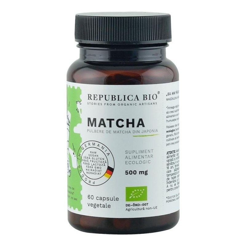 Matcha Ecologic din Japonia (500 mg), 60 capsule - Republica BIO