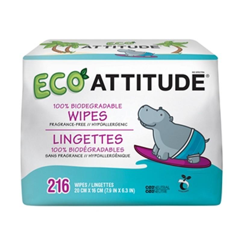 Rezerva servetele umede fara parfum, 100 % biodegradabile, 216 buc - ATTITUDE