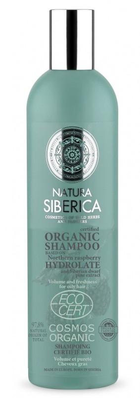 Sampon bio volum si prospetime pentru par gras, cu hidrolat de zmeur, 400 ml - Natura Siberica