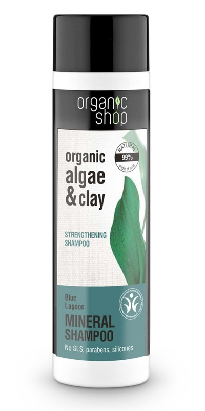 Sampon fortifiant cu argila si extract de alge Blue Lagoon, 280 ml - Organic Shop