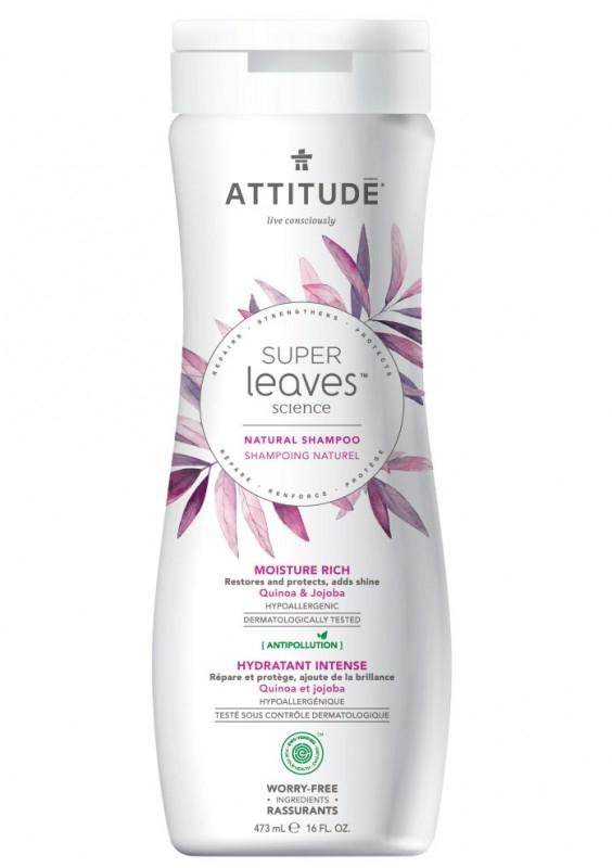 Sampon hidratant pentru par uscat si lipsit de stralucire Superleaves, 473 ml - ATTITUDE
