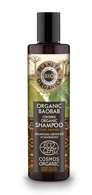 Sampon organic pentru volum cu ulei de baobab si nuci indiene, 280ml - Planeta Organica