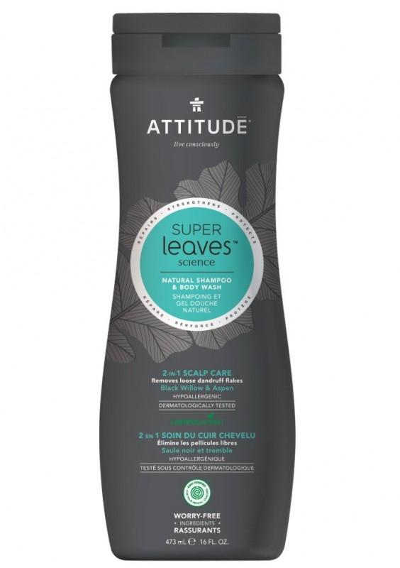 Sampon si gel de dus pentru barbati, ingrijire scalp, Superleaves 473 ml - ATTITUDE