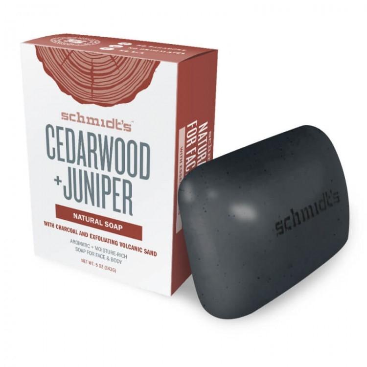 Sapun fata si corp Cedarwood & Juniper, cu exfoliant din nisip vulcanic - Schmidt's