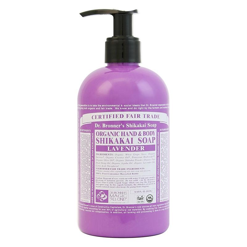 Sapun lichid cu pudra shikakai Lavanda, 355 ml - DR. BRONNER
