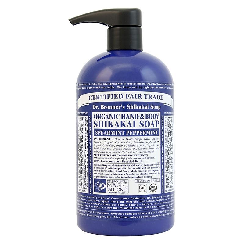 Sapun lichid cu pudra shikakai Menta, 710 ml - DR. BRONNER